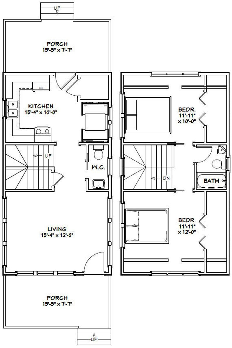 16x30 House 878 sq ft PDF Floor Plan Instant Download