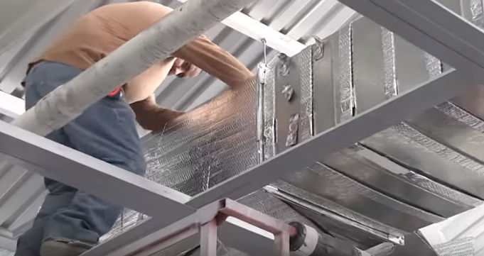 Wrapping Ductwork With Infrastop Using The Correct Method Of Placing Spacers First To Create An Air Gap Betw Foil Insulation Bubble Foil Insulation Duct Work