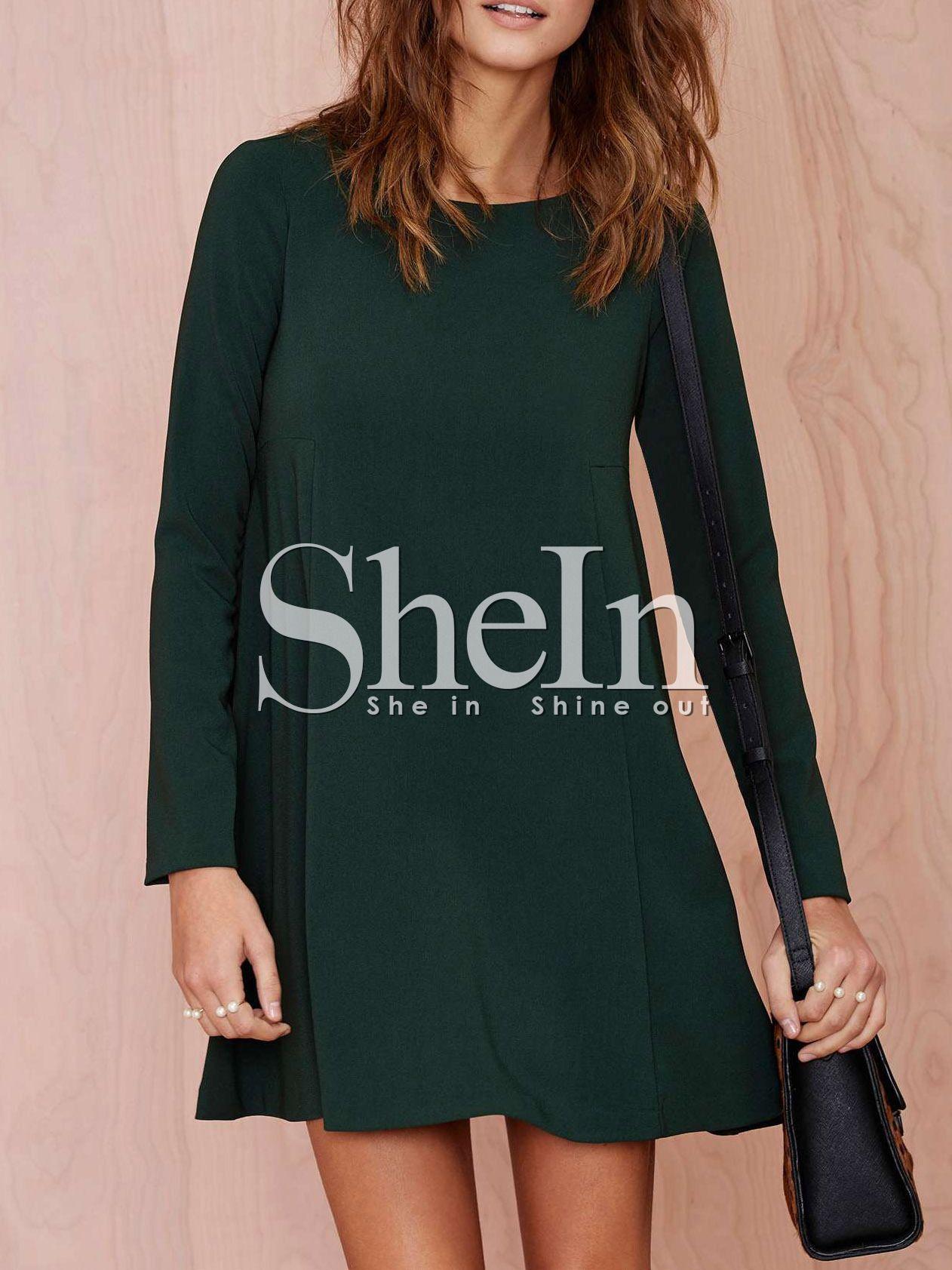 382dfabbf59c Negozio Vestito casual con maniche lunghe verde scuro on-line. SheIn offre  Vestito casual con maniche lunghe verde scuro   di più per soddisfare le  vostre ...