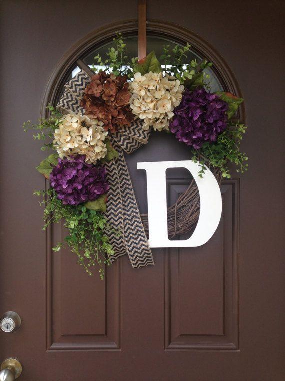 Hydrangea Front Door Wreath with Monogram Grapevine by Flowenka