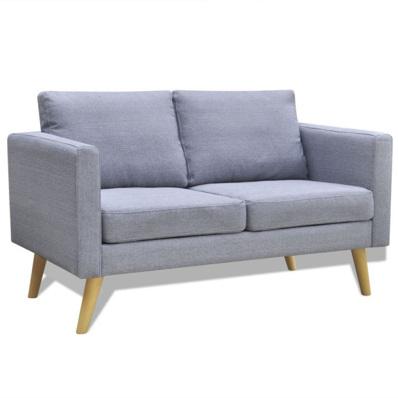 Vidaxl 2 Seater Sofa Fabric Light Grey Modern Couch Lounge Suite Furniture Wood Furniture Living Room Living Room Sofa 2 Seater Sofa