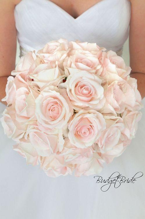 Blush David Bridal Wedding Bouquet with blush pink roses #rosebridalbouquet
