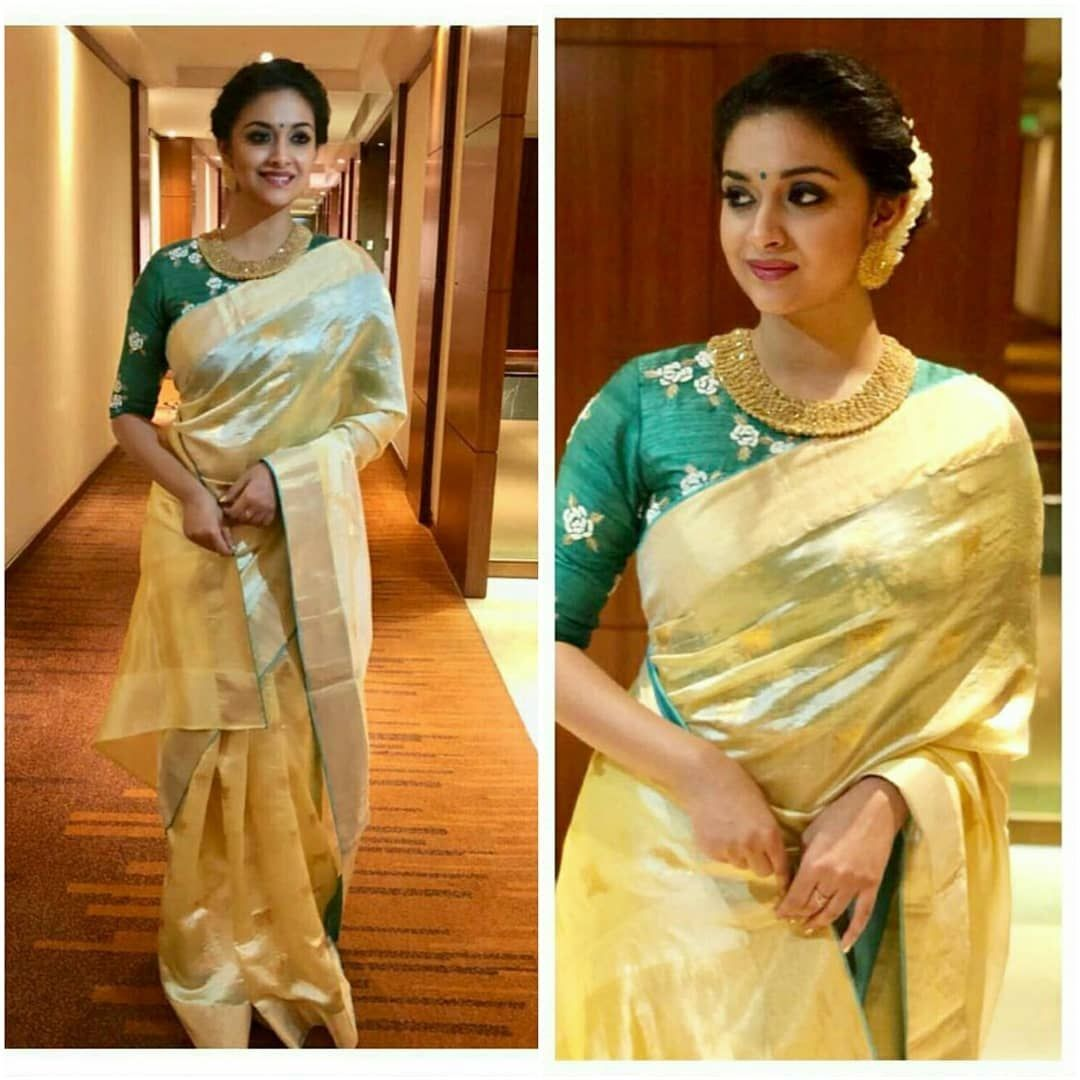 708447abdbec4 Look stunning in this tissue saree designed with silver and gold zari  design... new   SakhiFashions.com  saree  tissue  gold  silver  celebrities   fashion