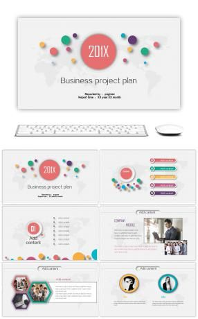 Multicolor micro stereoscopic business project plan PPT template - project plan ppt template