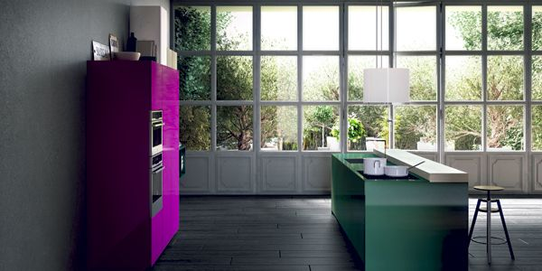 Milano. Open Collection. Living the contemporary.  Design by Prospero Rasulo. #kitchen #design #colour #pink #green