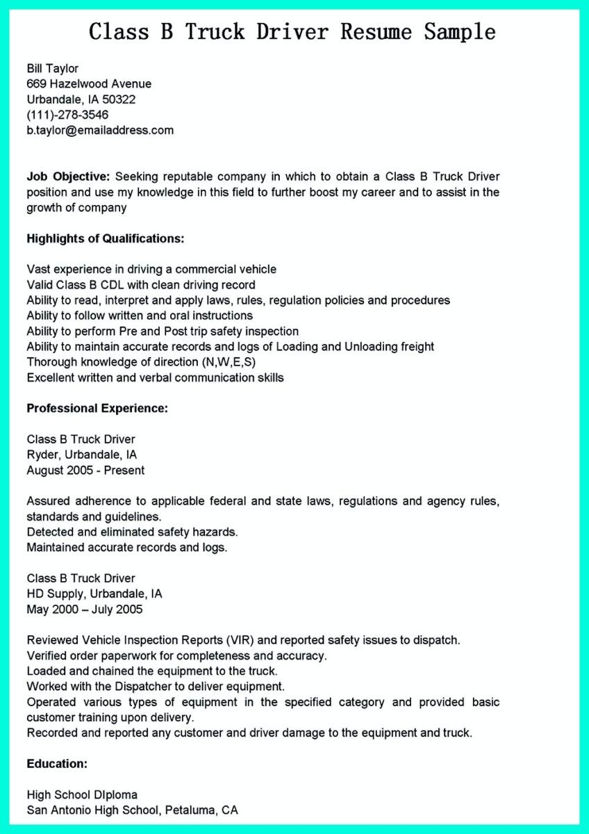 Cool Simple But Serious Mistake In Making Cdl Driver Resume Job