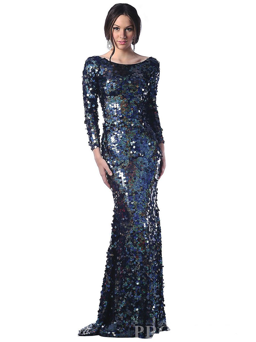 Long sleeve floor length evening dresses