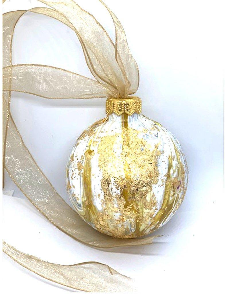 Gold Foil Swirl Christmas Tree Ornament