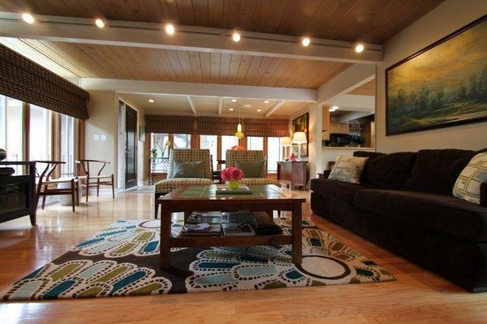 schönes wohnzimmer teppich blumen schickes braunes sofa deco - wohnzimmer braunes sofa