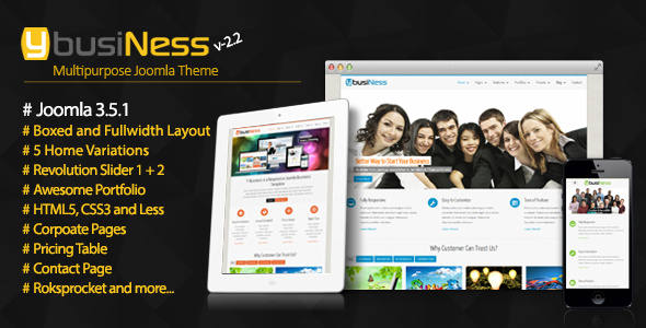 Review & download ybusiness – responsive joomla business template.