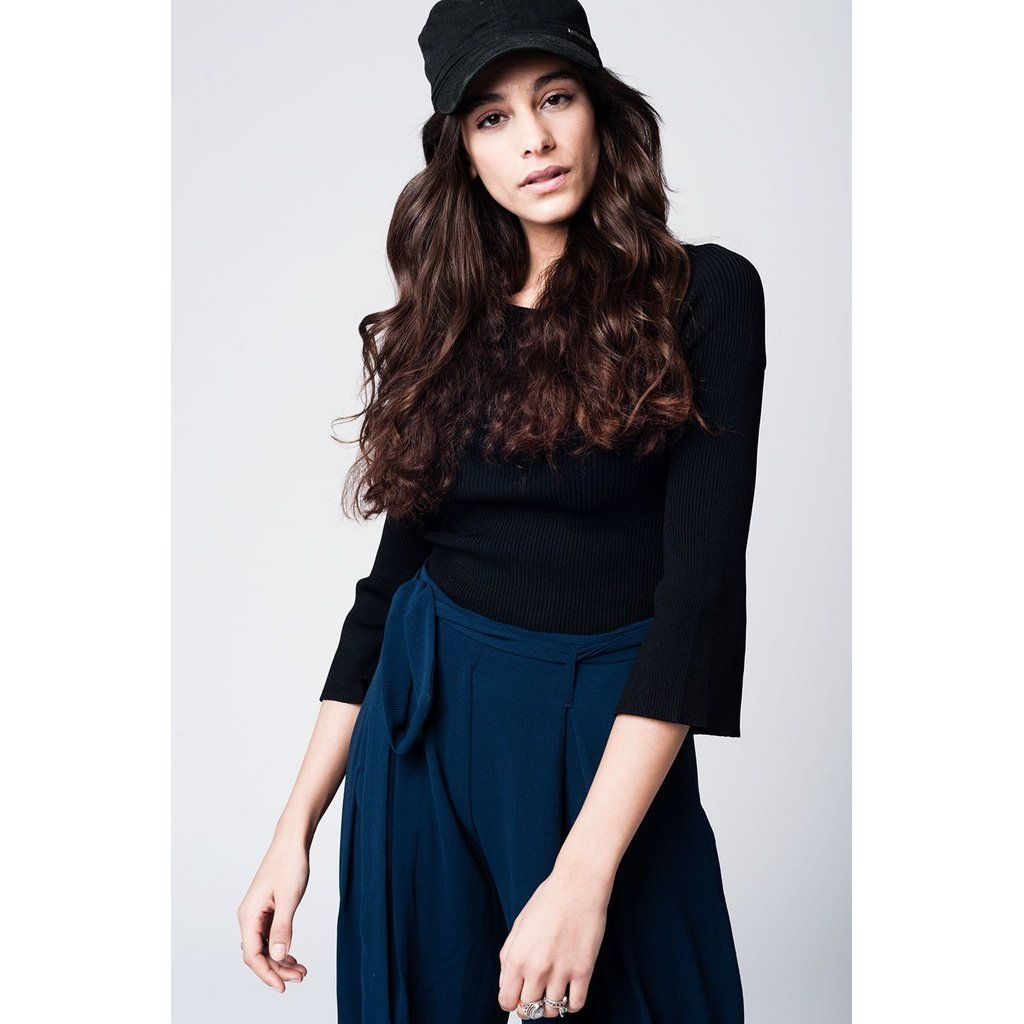 Tight black sweater with bell sleeves products pinterest