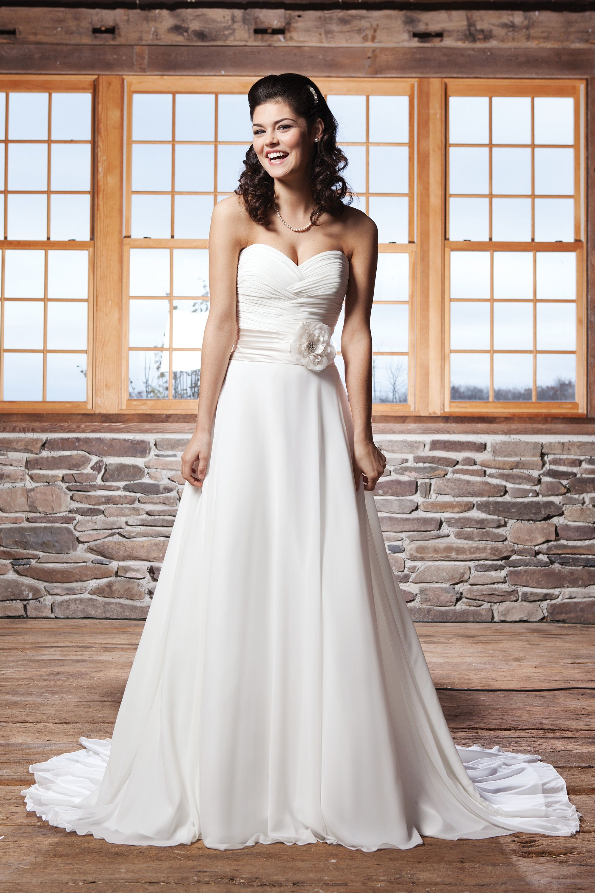 Pleated wedding dress  Pleated Cummerbund ALine Gown  One Sweet Day   Pinterest