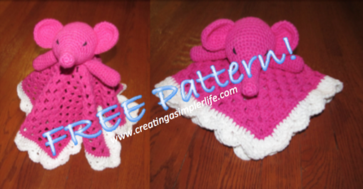 FREE PATTERN for this adorable Pink Elephant Lovey Blanket