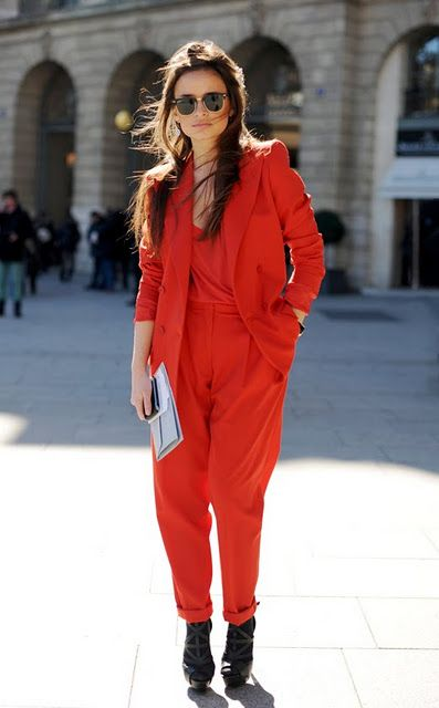 red suit.
