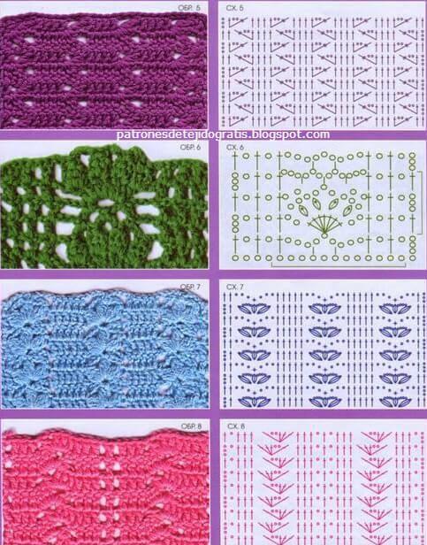 24 patrones de puntos crochet / con pdf ~ Patrones para Crochet ...