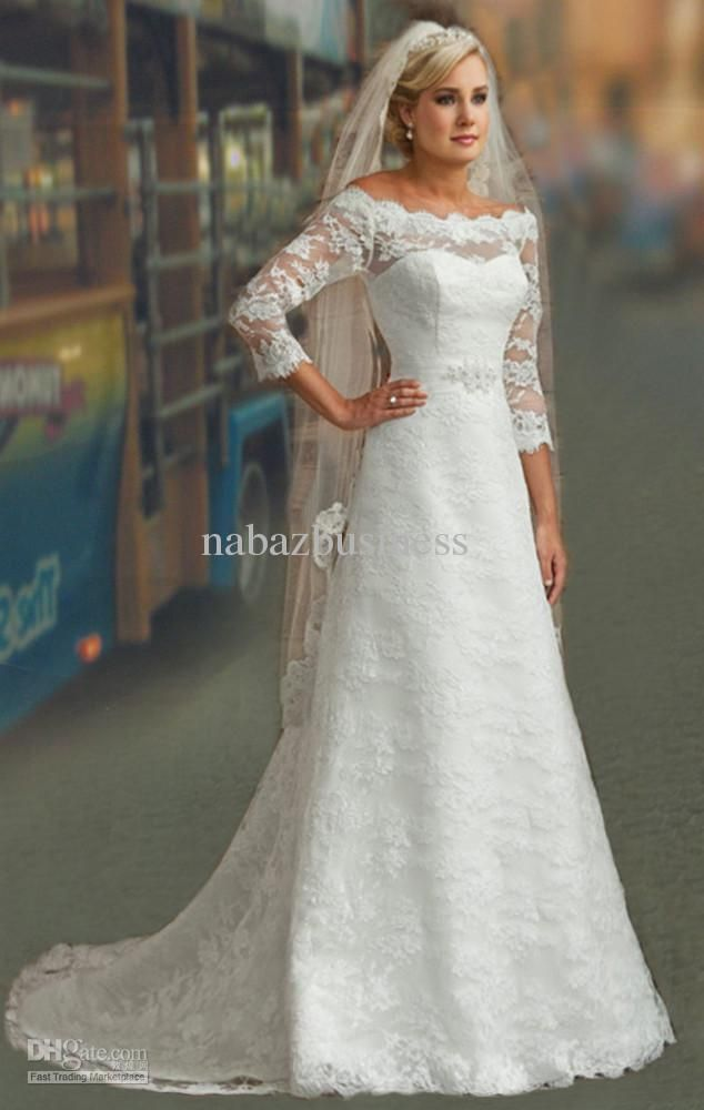 Wedding Dresses Modest 3/4 Long Sleeves White Lace A-line Bridal ...