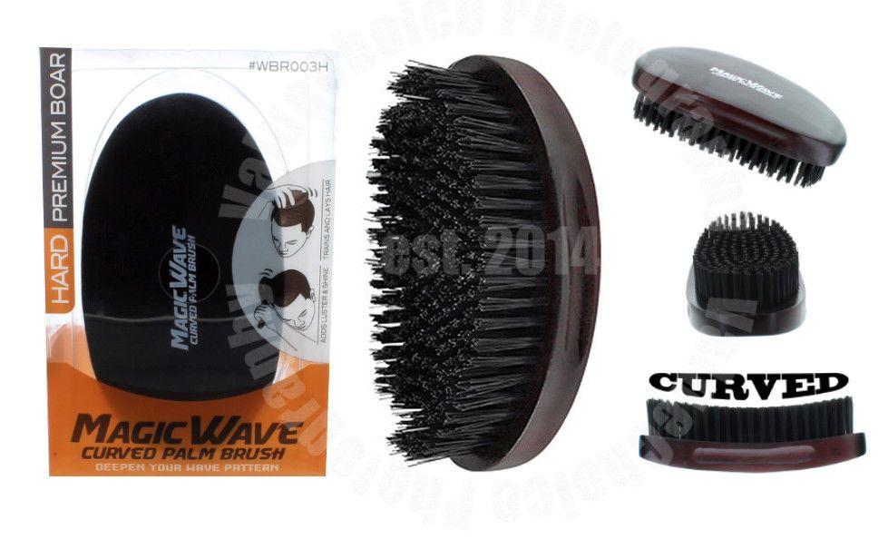 Magic Wave Premium Curved Hard Boar Bristle Hair Brush Wooden