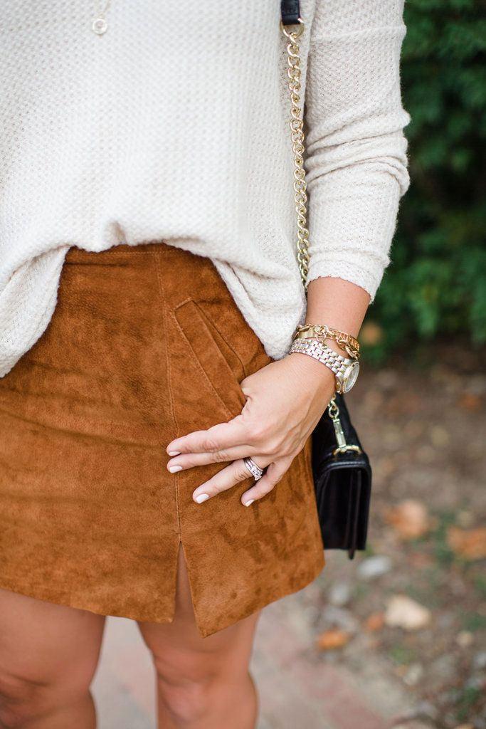 c395e536cebd Suede skirt and sweater outfit for fall, Cristin Cooper, The Southern Style  Guide