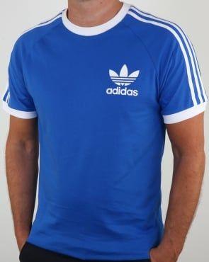 Adidas Originals Retro 3 Stripes T Shirt Blue white   Adidas