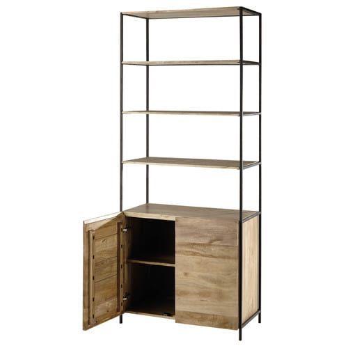 Bücherregale Metall bücherregal aus mangoholz und metall schwarz l 85 cm shelf it