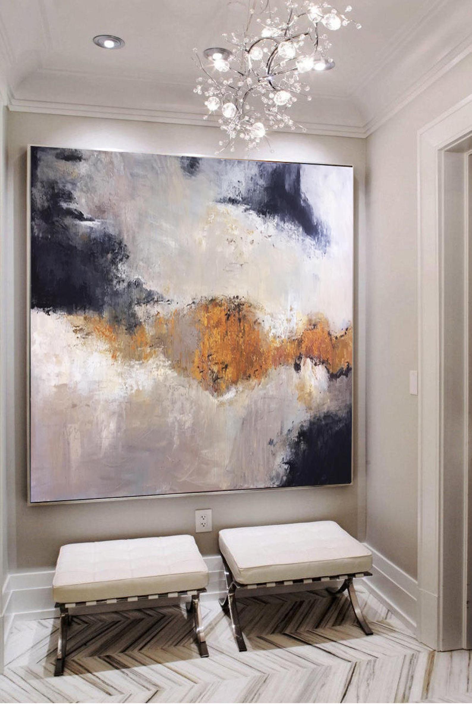 Grosse Gemalde Auf Leinwand Original Gold Malerei Weiss Abstrakte