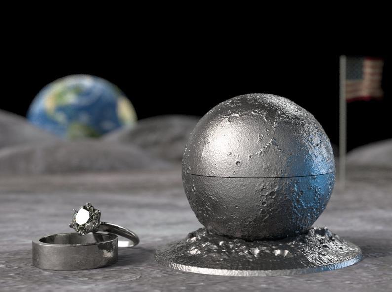 Full Moon Proposal Ring Box Cool Silver Moon Ring Bearer