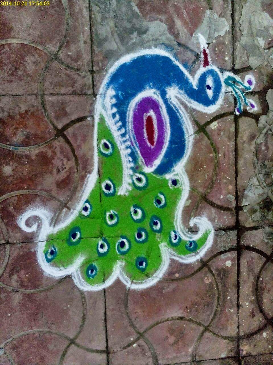 Peacock Rangoli Designs Peacock crafts, Peacock rangoli