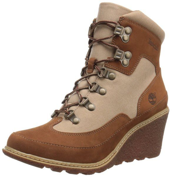 Timberland Women's Amston Leather Fabric Hiker Boot, Rust Nubuck/Tan Waxed  Canvas, M US. Hiker wedge boot with leather and textile upper featuring  lace ...