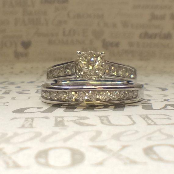 White Gold Bridal Wedding Set Round By Itsmyfavoritejewelry