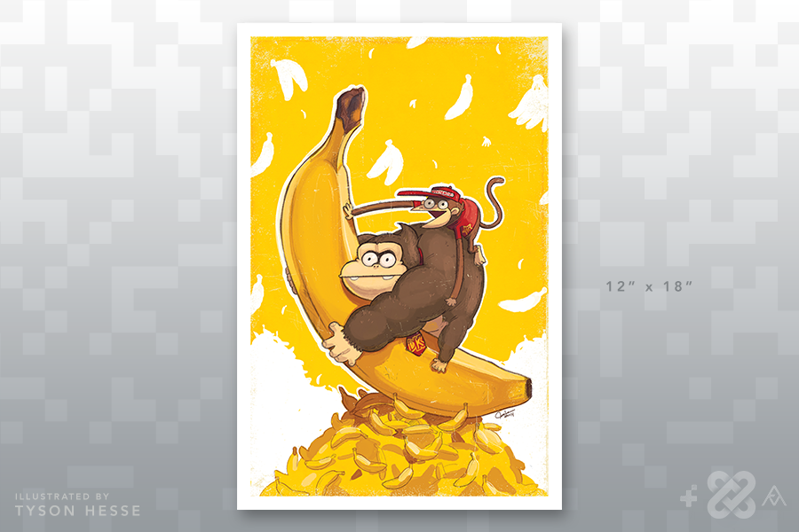 Monkey Love Banana Art, Monkey, Poster