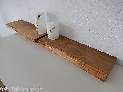 Details zu 2xWandboard Eiche Wild Massiv Holz Board Regal