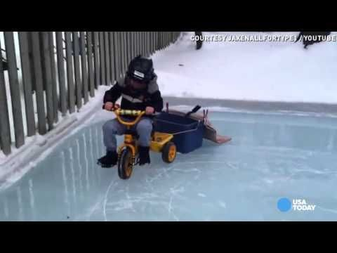 Zamboni kid won't stand for scratched-up ice rink ...