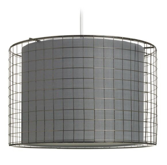 Wire cage lampshade.