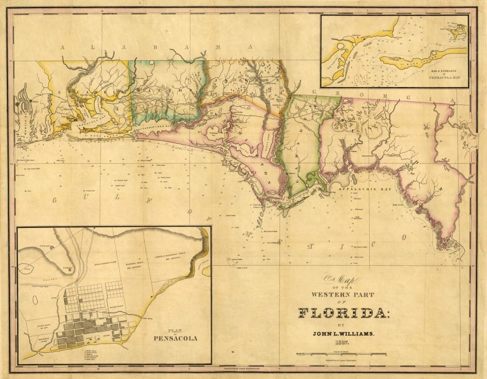 Williams S 1827 Map Of Western Florida With A Plan Of Pensacola