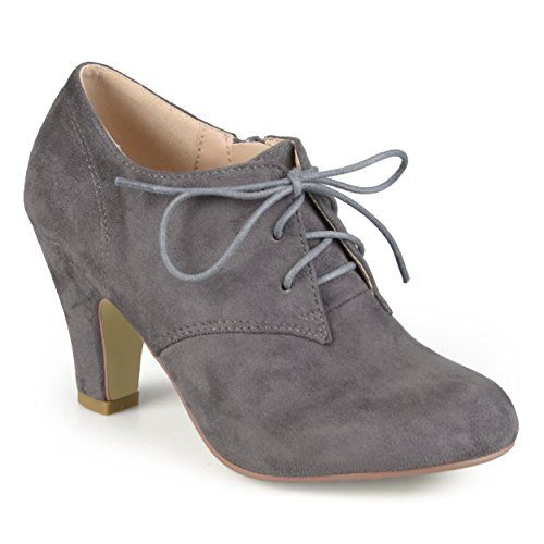 db9ee1ba51fa9 Brinley Co. Womens Vintage Round Toe High Heel Lace-up Faux Suede ...