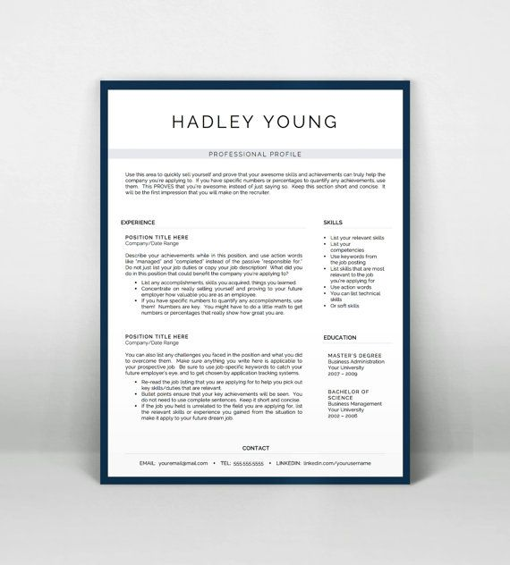 Professional Resume Template for Word and Pages by LandedDesignStudio  Professional Resume