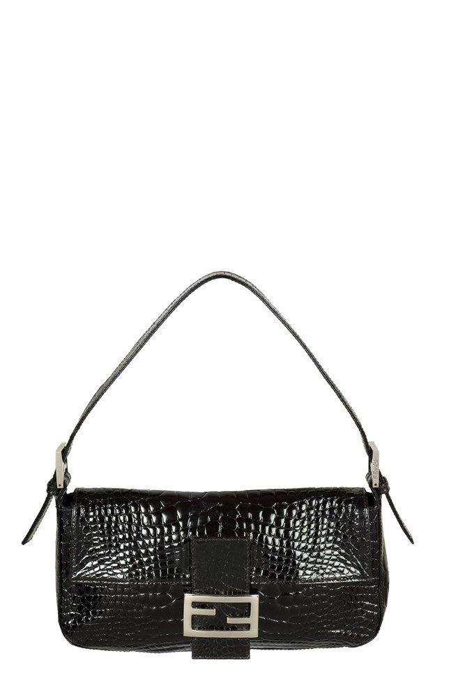 d82588386fd1 Fendi Baguette Black Baby Croc Shoulder Bag -  Starbags eu  Fendi ...