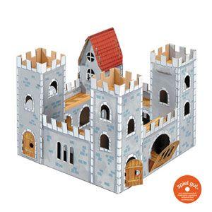 Chateau Fort En Carton A Monter Et Colorier Calafant Pour Les Enfants Decoclico Chateau En Carton Forts En Carton Maison En Carton