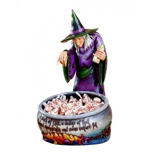 Jim Shore Halloween Witch With Cauldron Candy Dish