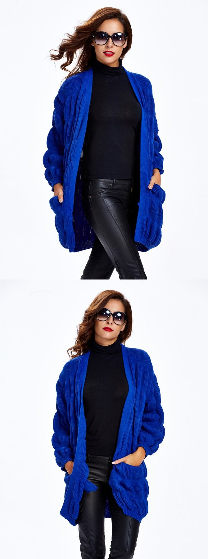 Black Knitting Thick Long Women's Sweater Coat | Royal blue ...