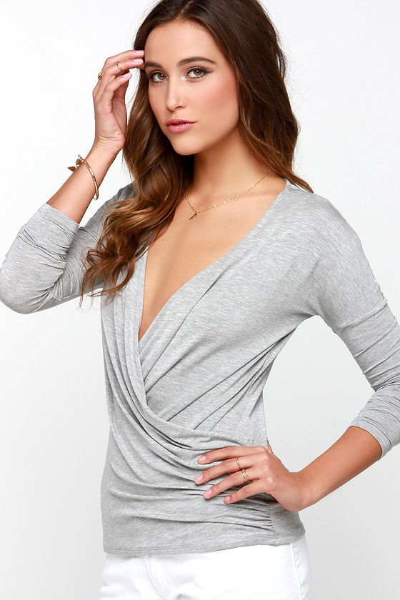 Have It Your Sway Heather Grey Long Sleeve Top at Lulus.com!