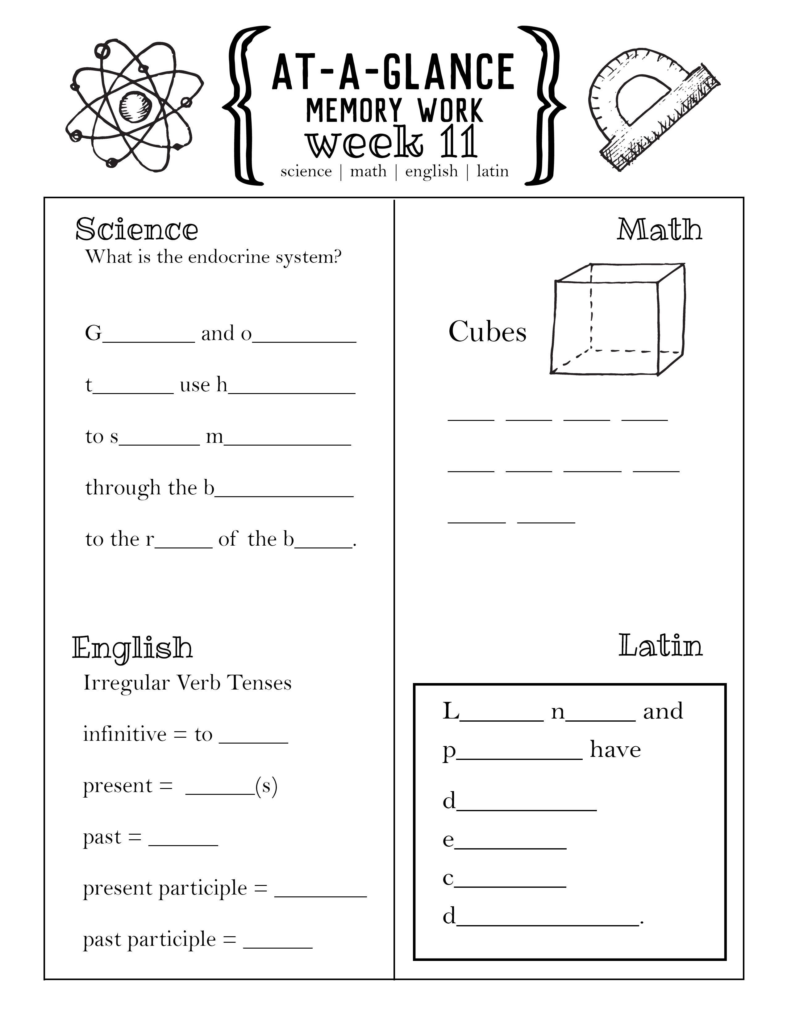 Cycle 3 At-A-Glance Memory Worksheets PDF   Kindergarten worksheets [ 3300 x 2550 Pixel ]