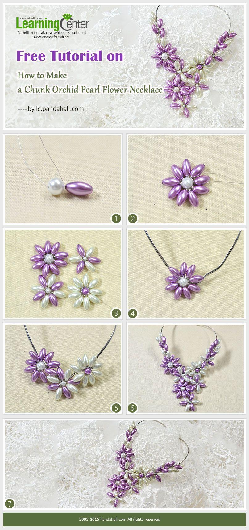 Beaded Cherry Blossom Flower Pendant Necklace Jewelry ...