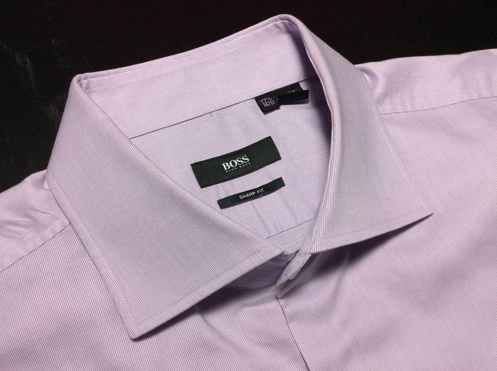 6057064e8 HUGO BOSS Sharp Fit Mens 17.5 36/37 Purple & White Micro Striped L/S Dress  Shirt #HUGOBOSS by designerclothingfans.com $29.99