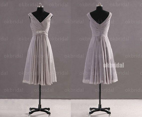 Gray Chiffon Bridesmaid Dress