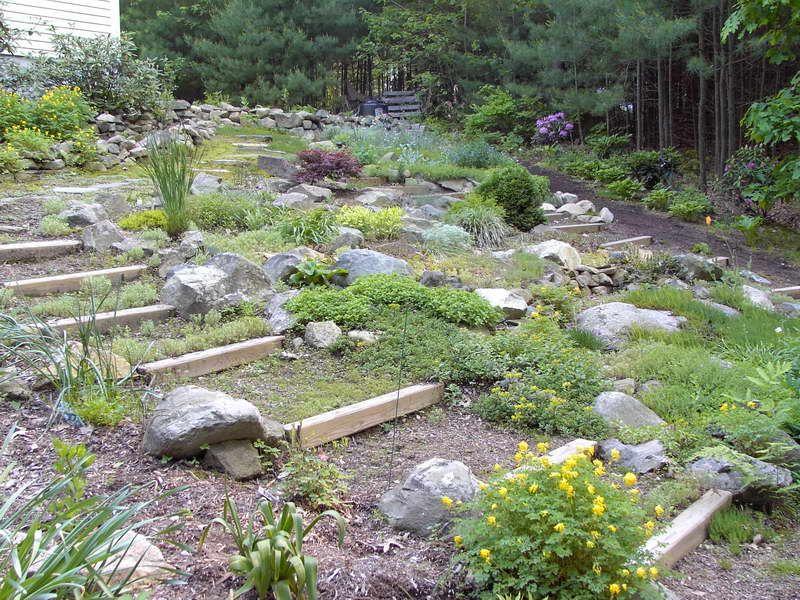 Rock Garden Ideas With Wooden Beams As Steps Design