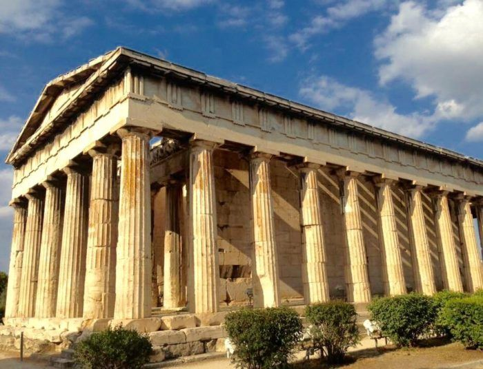 Temple Of Hephaestus Located On Kolonos Agoraios Hill Overlooking