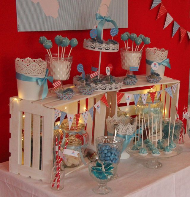 Ankerwerfer deko candy bar f r babyshower diy wedding - Deko sideboard ...