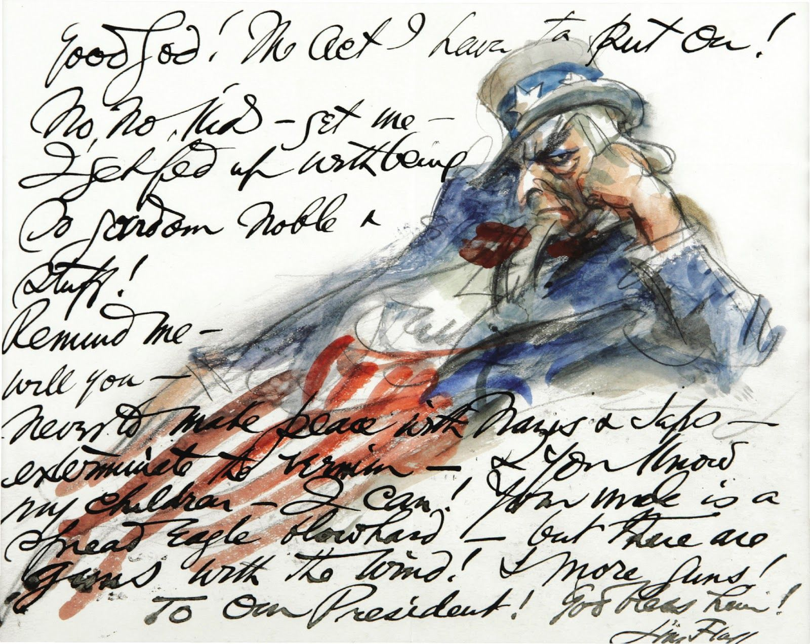 Autograph Drawing Letter From James Montgomery Flagg