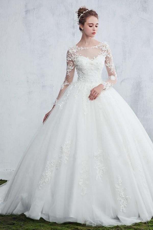09c8b790ea2 Scoop Neck Beaded Appliques Ball Gown Wedding Dress With Sleeves-Pgmdress